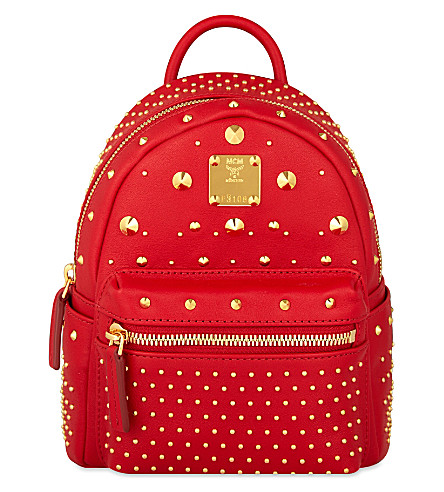 MCM Stark special Bebe-Boo leather backpack (Ruby red