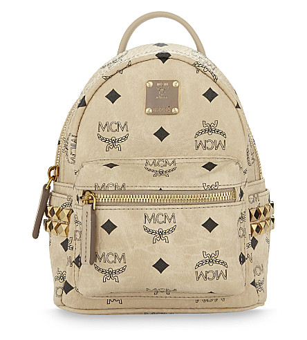 MCM Stark stud detail extra-mini backpack (Beige