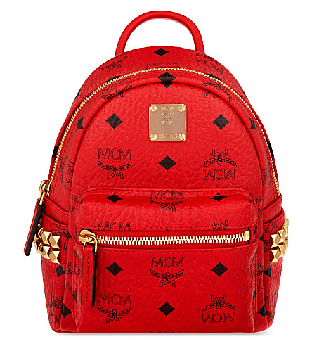 MCM Stark stud detail extra-mini backpack (Ruby red