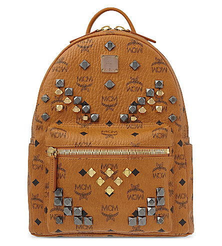 MCM Stark M stud small backpack (Cognac