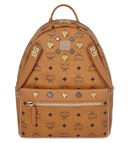 MCM Dual Stark small leather backpack (Cognac