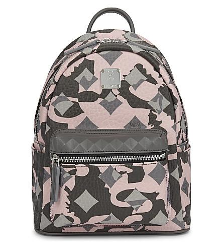 MCM Mini stark coated canvas backpack (Camo+pink+blush