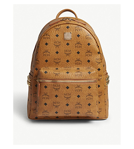 MCM Stark medium Visetos backpack (Cognac