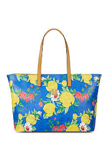 MCM Floral leather shopper bag
