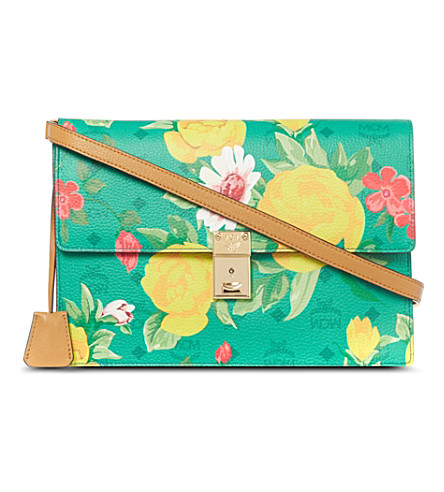 MCM Flower shoulder clutch (Green