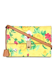 MCM Flower leather shoulder clutch