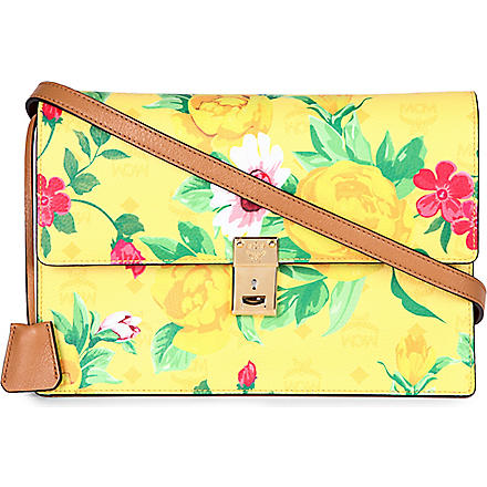 MCM Flower leather shoulder clutch (Yellow
