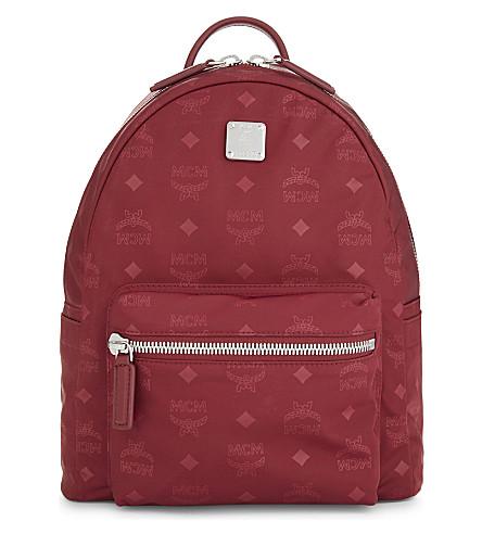 MCM Dieter monogrammed nylon backpack (Ruby+tan