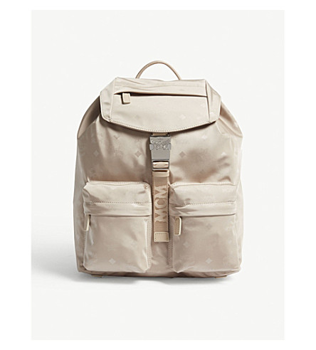 MCM Dieter small monogram nylon backpack (Born+beige