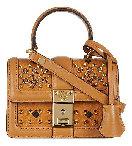 MCM Visetos studded satchel (Cognac