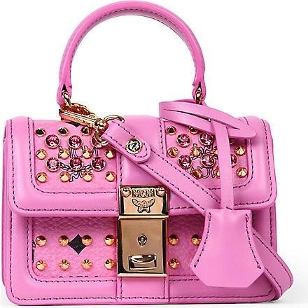 MCM Visetos studded satchel (Pink