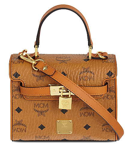 MCM Heritage padlock leather satchel (Cognac