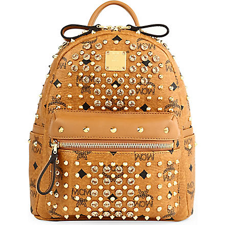 MCM Visetos crystal leather backpack (Cognac