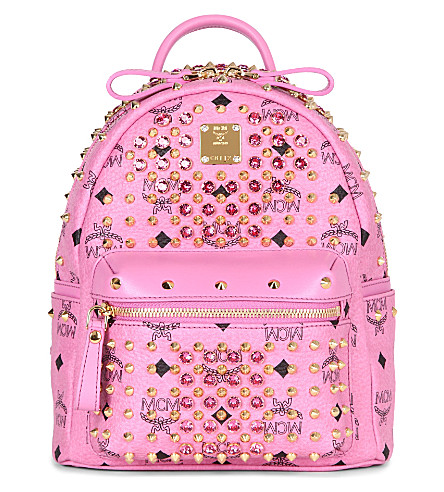 MCM Visetos crystal leather backpack (Pink