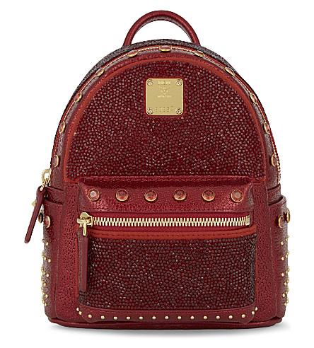 MCM Stark x-mini leather backpack (Ruby red