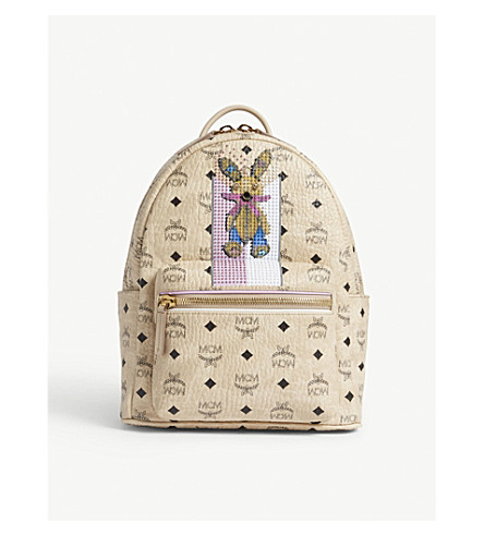 MCM Rabbit small coated canvas backpack (Beige