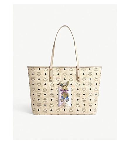 MCM Embellished rabbit leather tote (Beige
