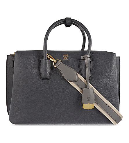 MCM Millatote medium leather tote (Phantom+grey