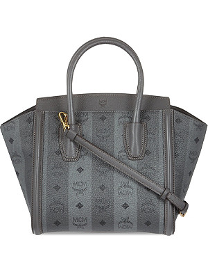 MCM Striped leather tote