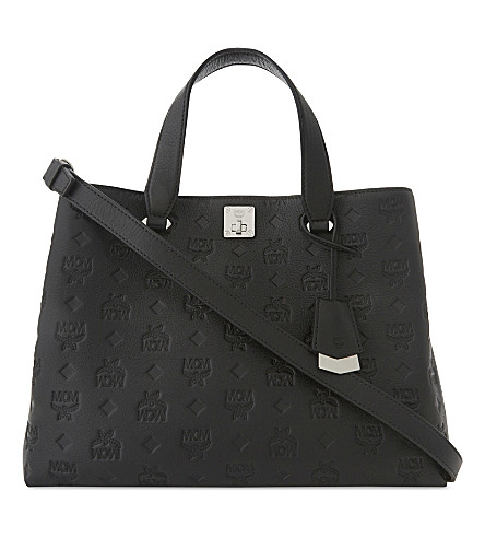 MCM Signature monogram coated canvas tote (Black