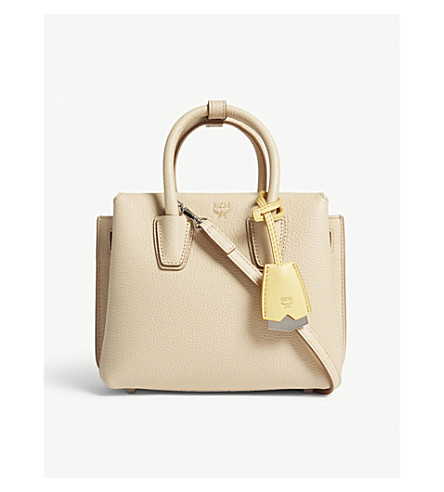 MCM Milla mini leather tote (Latte+beige