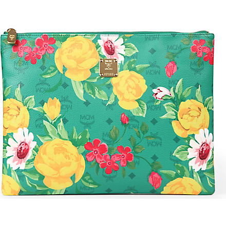 MCM Flower leather pouch (Green
