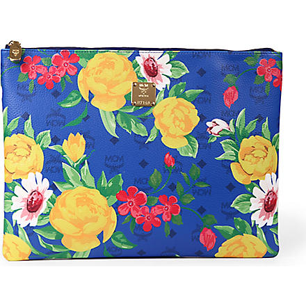 MCM Flower leather pouch (Blue
