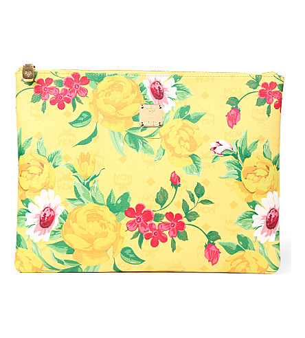 MCM Flower leather pouch (Yellow
