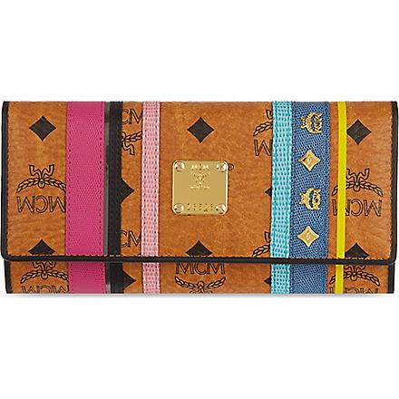 MCM Stiped leather wallet (Cognac