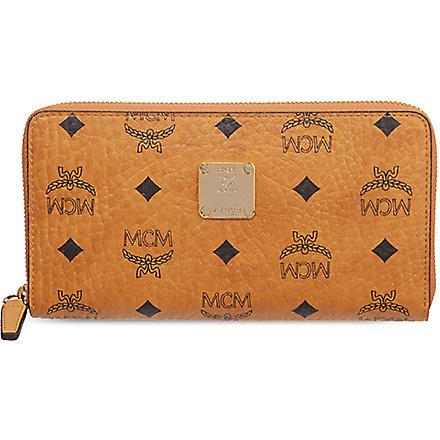 MCM Visetos zip around wallet (Cognac   purple