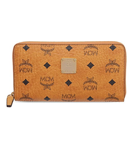 MCM Visetos zip around wallet (Cognac   purple