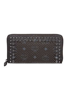 MCM Large studded zip around wallet