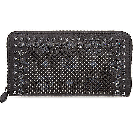 MCM Large studded zip around wallet (Black