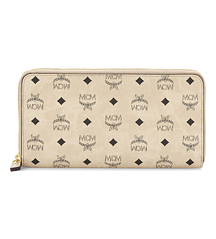 MCM Colour visetos zipped wallet (Beige