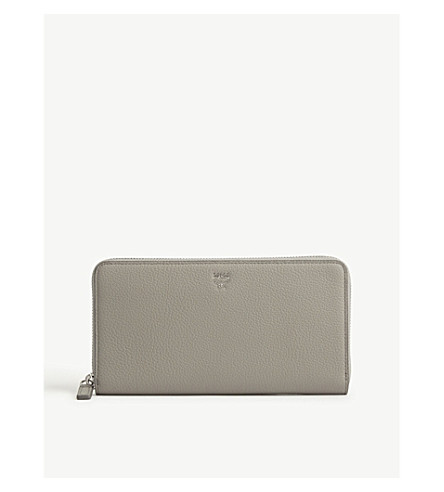 MCM Milla large grained leather continental wallet (Arch+grey