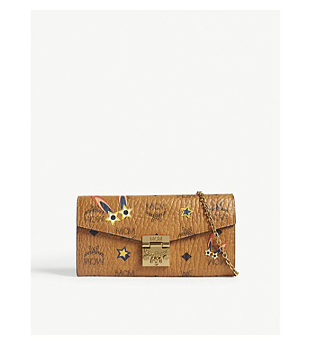 MCM Millie bunny Visetos coated canvas wallet-on-chain (Cognac