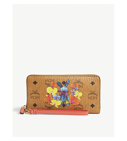 MCM Floral rabbit print leather purse (Cognac