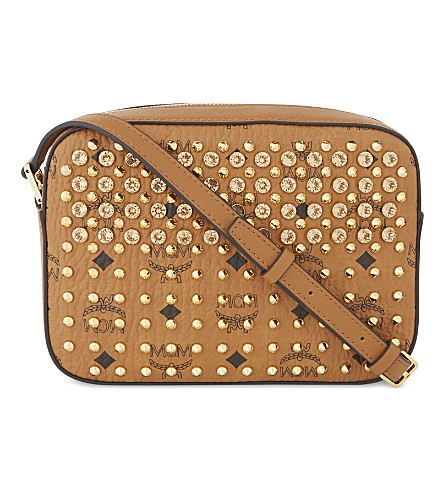 MCM Diamond Visetos coated canvas cross-body bag (Cognac