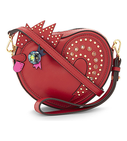 MCM Rooster leather cross-body bag (Ruby red