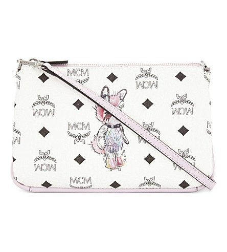 MCM Rabbit medium coated canvas cross-body bag (White