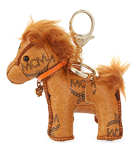 MCM Visetos leather horse charm (Cognac