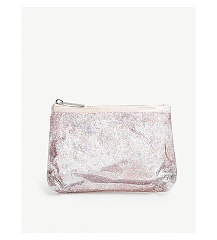 SKINNYDIP Pop floating sequin make-up pouch (Pink