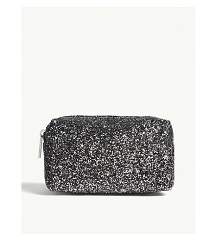 SKINNYDIP Midnight glittered make up bag (Black