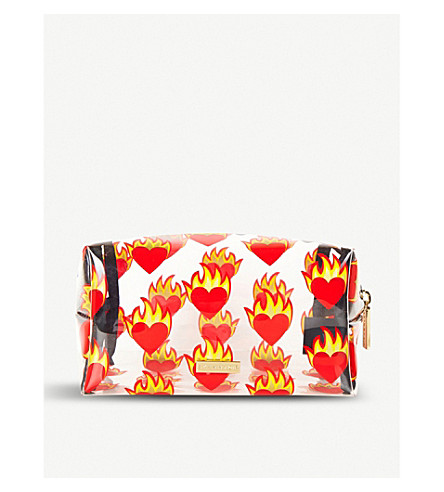 SKINNYDIP Flame Heart clear make up bag (Flame+heart