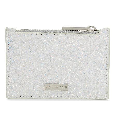SKINNYDIP Frozen glitter coin purse (White