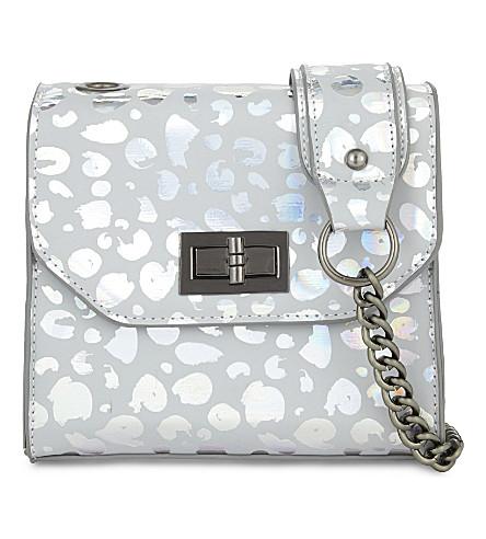 SKINNYDIP Iridescent leopard print cross-body bag (Silver