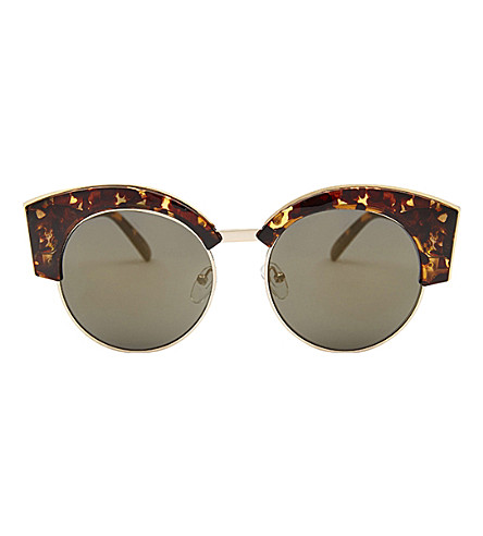 SKINNYDIP Dakota tortoiseshell round club sunglasses (Tort