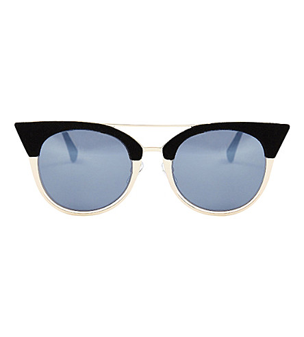 SKINNYDIP Ava flocked aviator kitten sunglasses (Black