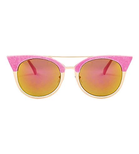 SKINNYDIP Ava flocked aviator kitten sunglasses (Pink