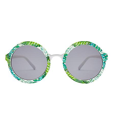 SKINNYDIP Lou Lou palm round plastic sunglasses (Silver+multi